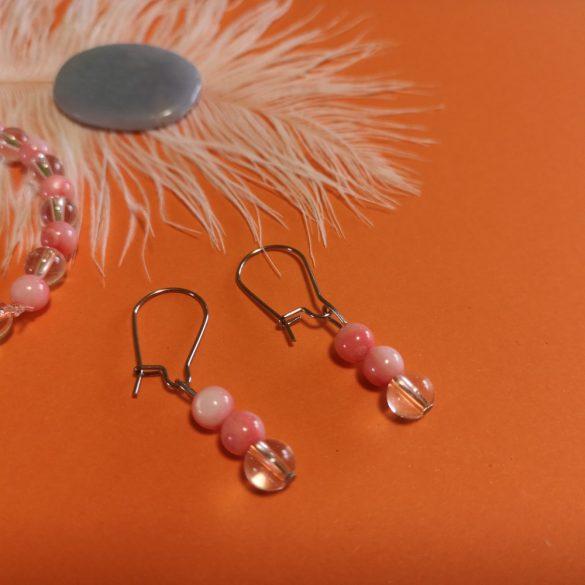 Rózsaszín kagyló + hegyikristály fülbevaló