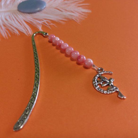Könyvjelző rózsaszín kagylóval és tündérrel