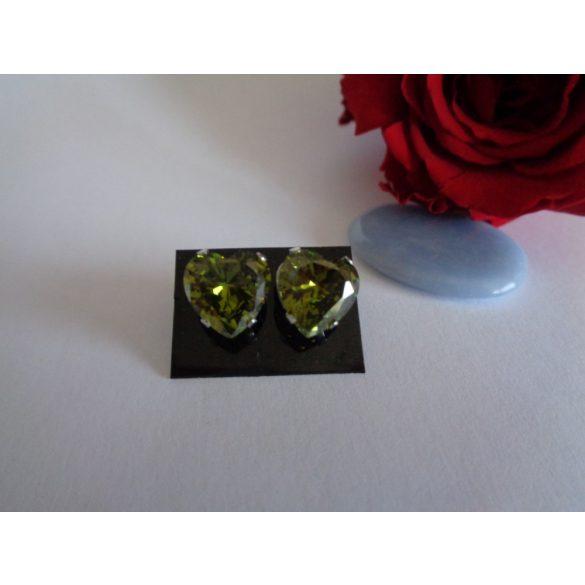 Zöld szív köves  orvosi acél fülbevaló