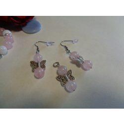 Rózsakvarc fülbevaló+medál szett pillangóval