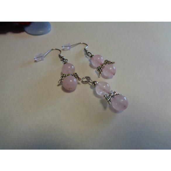 Rózsakvarc fülbevaló+medál szett angyalkás