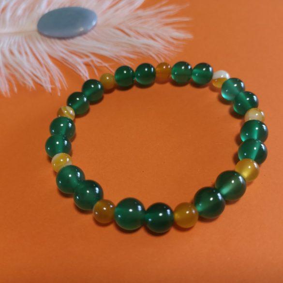 Zöld és sárga achát karkötő