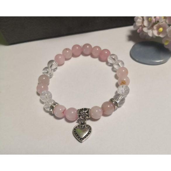 Hegyikristály+rózsakvarc karkötő hattyú függővel