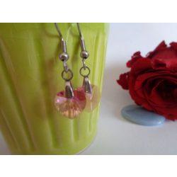 Swarovski kristályos szív alakú fülbevaló - Rose xilion