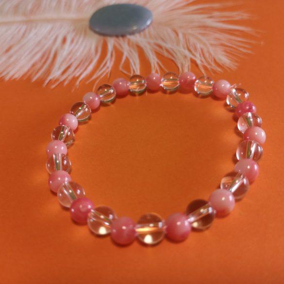 Hegyikristály+rózsaszín kagyló karkötő