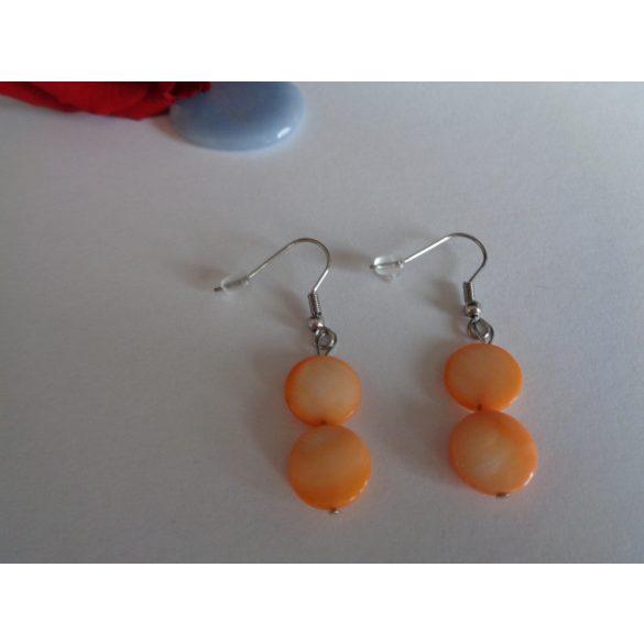 Narancs korong gyöngyház fülbevaló