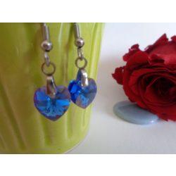 Swarovski kristályos szív alakú fülbevaló - Light Sapphire zafírkék