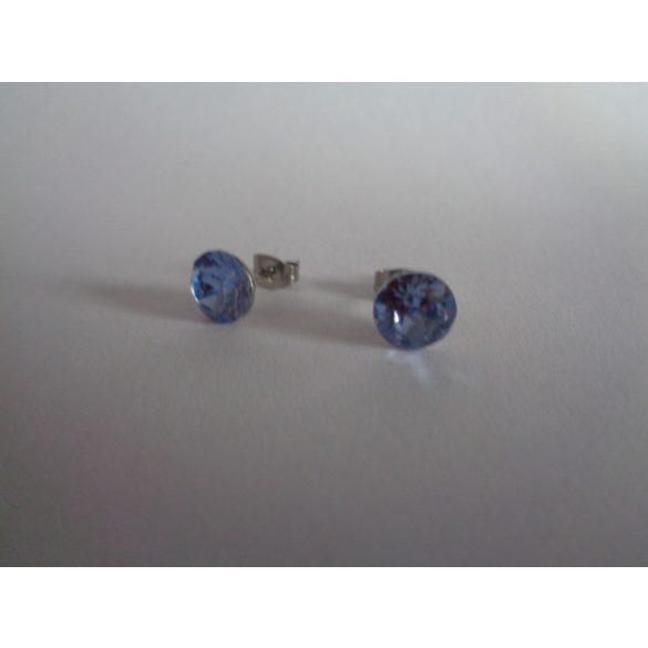 Swarovski kristályos bedugós fülbevaló - Light Sapphire zafírkék