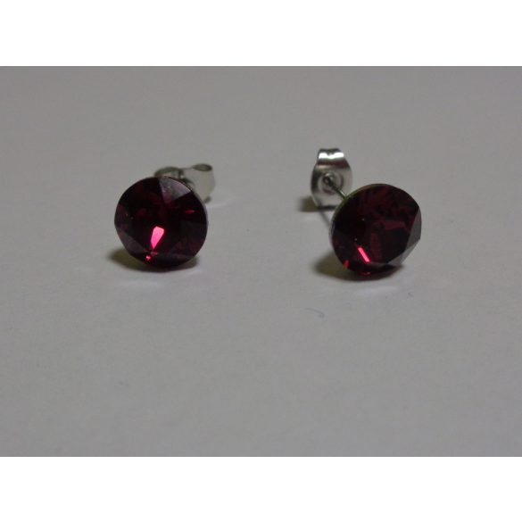 Swarovski kristályos bedugós fülbevaló - ruby