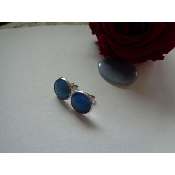 Kék üveglencsés bedugós fülbevaló